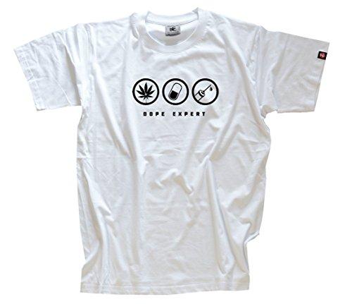 Shirtzshop–Maglietta da uomo Dope Expert droghe drugs di esperti bianco