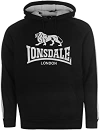 Lonsdale Herren 2 Streifen Kapuzenpullover Langarm Jersey Hoody Logo