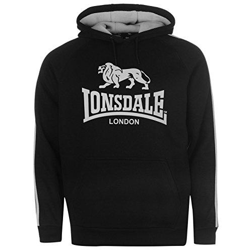Lonsdale Herren 2 Streifen Kapuzenpullover Langarm Jersey Hoody Logo Schwarz/Silber M (Pullover Stripe Chest)