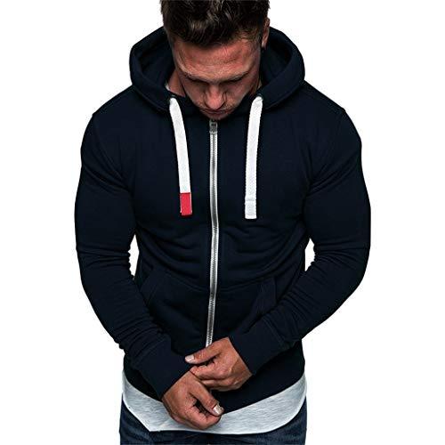 MCYs Herren Einfarbige Strickjacke mit Kapuze Fleece-Pullover, Mens Pure Color Reißverschluss Pullover Langarm Kapuzenpullover Tops Bluse -