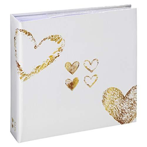 Hama Einsteck-Fotoalbum Lazise, Memo-Album mit 100 Seiten, zum Einstecken von 200 Fotos im Format 10x15, Herz Motiv, 22,5x22, Einsteckalbum Fotobuch gelb-gold