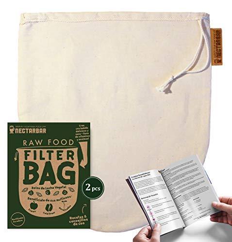 NECTARBAR Eco Nussmilchbeutel Made in Germany Handgefertigter Filterbeutel 2 STK aus Bio Baumwolle für pflanzliche Drinks, vegane Nussmilch, Entsaften 100% Plastikfrei RAW Food Filter Bag + Anleitung