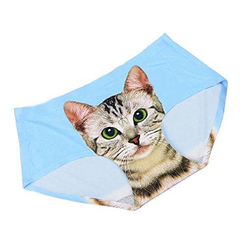 Wingbind Kurze Höschen für Frauen Mädchen Damen, 3D Katze gedruckt Hi-Cut Panty unsichtbare Nahtlose Bikini Unterwäsche Zurück Full Coverage Höschen Soft Breathable Comfy (Cut Full Höschen Kurze)