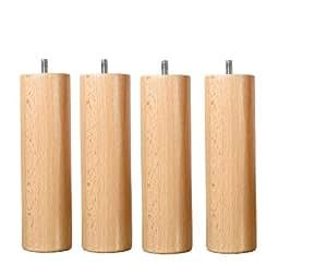 wood select jeu de 4 pieds bois h25cm vernis naturel cuisine maison. Black Bedroom Furniture Sets. Home Design Ideas