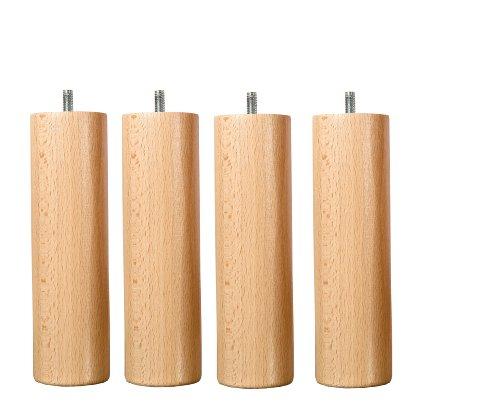 Hevea Selection Möbelfüße aus Holz, Höhe 25 cm, 4 Stück