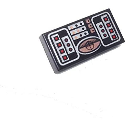 Lego Parts: Tile, Decorated 1 x 2 with STAR WARS (Avionics - Copper, Red & Silver Pattern) by Parts/Elements - Tiles, Decorated