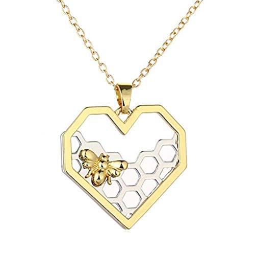LaDiva Halskette, Anhänger Bienenstock Design und Biene in Herzform Gold und Silber