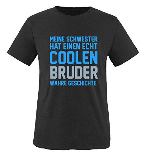 Comedy Shirts - Meine Schwester hat einen echt coolen Bruder wahre Geschichte. - Jungen T-Shirt - Schwarz / Blau-Eisblau Gr. (Prinz Für Jungen Outfits)