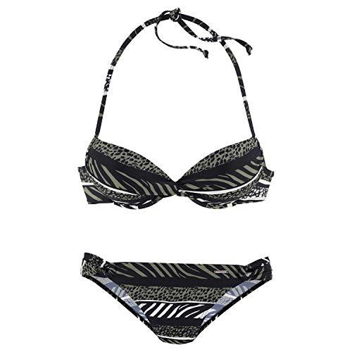 LASCANA Bruno Banani LM CB Push-up-Bikini A Oliv Print - 38/A