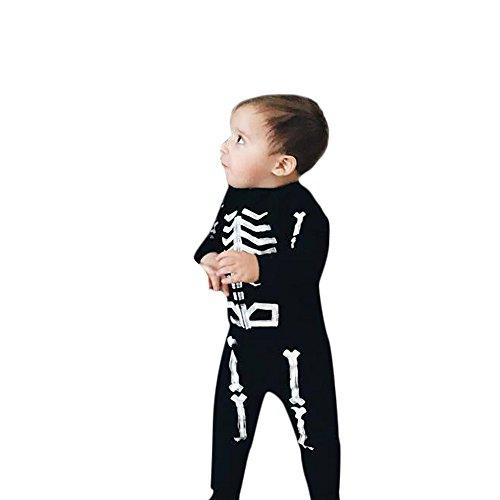 (Kinderbekleidung,Honestyi 2pcs Kleinkind Säuglingsbaby Boy Knochentops + Hosen Halloween Kleidung Outfits Set (110,Schwarz))