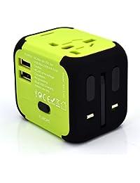 Adattatore universale da Viaggio compatto per prese elettriche Spine Europa Uk Usa Australia All-in-One Presa 6,0A incorporata 2 porte Usb 5V/2400mA per caricare Smartphones/Tablet