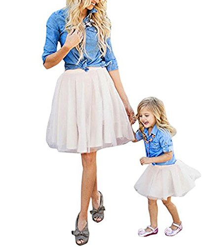 Mutter & Töchter Parenting Set Cowboy T-Shirt + Rock Set Sommer Spitze Rock Shirt Mama Baby Kostüm Lady (Mama Tochter Kostüm)