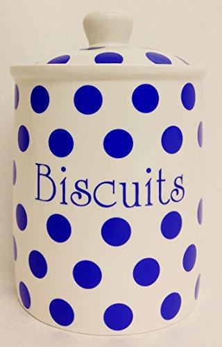 Pois Bleu-Pot à Biscuits en porcelaine Fine Boîte de Biscuits bleu décoré à la main au Royaume-uni sans U. K. De livraison.
