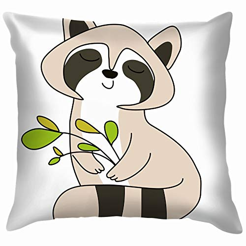 beautiful& Image Happy Raccoon Animals Wildlife Animal Holidays Throw Pillows Covers Accent Home Sofa Cushion Cover Pillowcase Gift Decorative 18X18 Inch