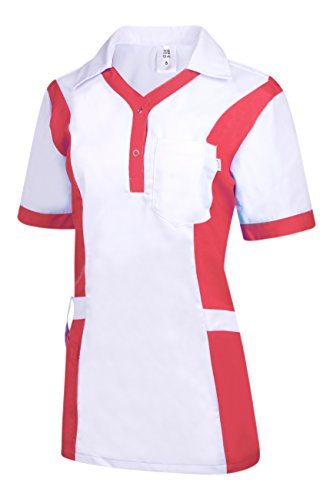 Clinotest Damenkasack Julia, Gesundheitswesen, für die Pflege, Berufsbekleidung, in Trendfarben (M, weiß/pink) -