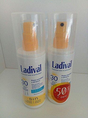 LADIVAL Spray Oil Free SPF30 150 ml (2 unités) spécial pour : Peaux Sensibles ou allergique, peaux acnéicas, intolérance au soleil, allergie solaire.
