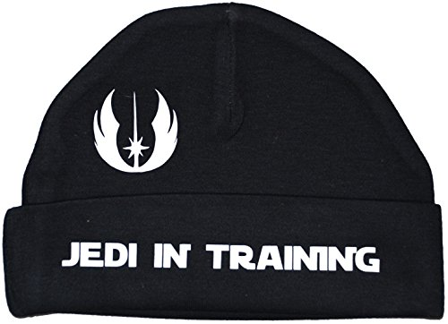 Jedi in Training Beanie Mütze/Kappe, Star-Wars-Motiv, 0 bis 12 Monate, Schwarz (Text Beanie)