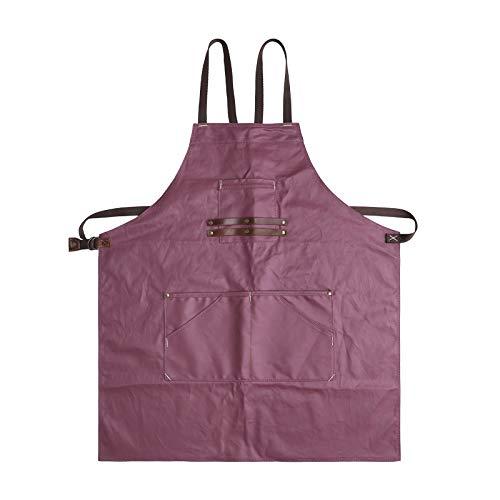 Handwerker Schürze Retro Canvas Wasserdichte Schürze Multi-Tool Tasche Leder Schultergurt Starke Abnutzung,Red-OneSize -