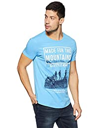 Spykar Mens Slim Fit Round Neck Printed T-Shirt