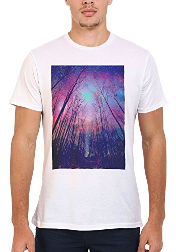 Galaxy Trees Nature Sky Cool Men Women Damen Herren Unisex Top T Shirt .Weiß