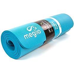 Meglio Esterilla de Yoga Antideslizante - En NBR de 10mm de Grosor. para Yoga, Fitness, Pilates, rutinas de Ejercicios Diferentes - Cinta para cargarla incluida