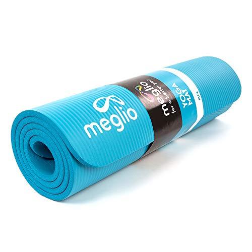 meglio Trainingsmatte, NBR Mehrzweck Yogamatte für Fitness, Pilates, Fitnessstudio, Meditation, Dehnung und Home Workouts, für Männer und Frauen, 10mm dick mit kostenlosem Tragegurt inklusive