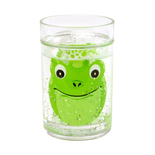 Epicurean Europe Becher aus Acryl, Motiv Grüner Frosch, 10,5x7cm, Transparent - Glas-zahnputzbecher