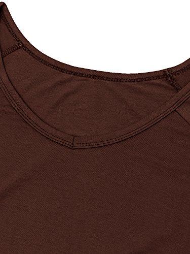 lymanchi Damen Schulterfrei T-Shirt V-Ausschnitt Asymmetrisch Kurzarm Tunika Top Bluse Kaffee