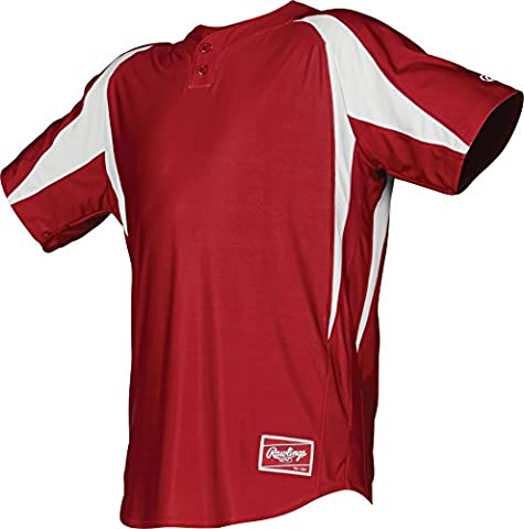 Rawlings Men's 2-Button Jersey with Inserts, Large, Scarlet