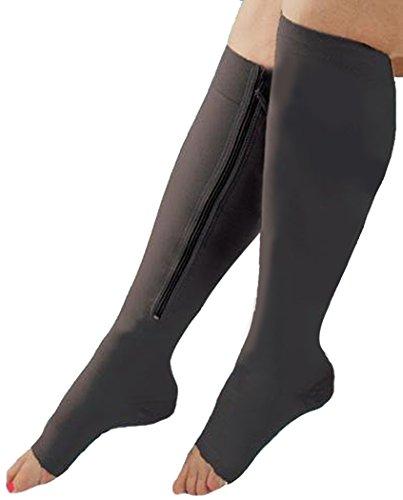Fascigirl Kompression Socken Schwarz Beinwärmer Kompressionsstrümpfe mit Reißverschluss (Medizinische überprüfung)