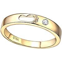 KnSam Joyas-Amor por Siempre&Anillos Compromiso Oro Amarillo Anillo de Diamante 0.3CT de 18K