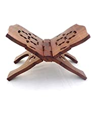 indiabigshop Wooden Hand Carved Holy Book Stand for Quran, Bible, Gita for Reading, Brown
