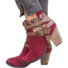 ZODOF Moda Mujer Otoño Zapatos Fiesta Boda Sexy Rivet Hebilla Botas Botines