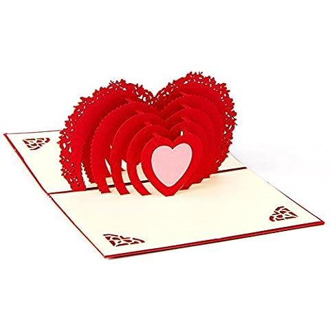 osunp Herz Love 3D Pop up Grußkarte Kirigami Geschenk Karten für Hochzeitstag Jahrestag Valentinstag Geburtstag Familie Paar Mutter 's Day Vatertag Thank You Einladung