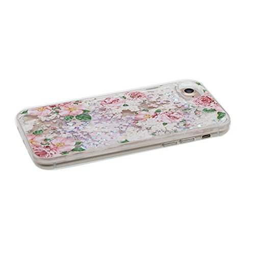 """iPhone 6S Coque, Skin Hard Clear étui iPhone 6 / 6S, Design Glitter Bling Sparkles Shinny Flowing iPhone 6 Case Shell 4.7"""", Apple iPhone 6S Cover 4.7"""", (Multiflora Rose) résistant aux chocs # 1"""