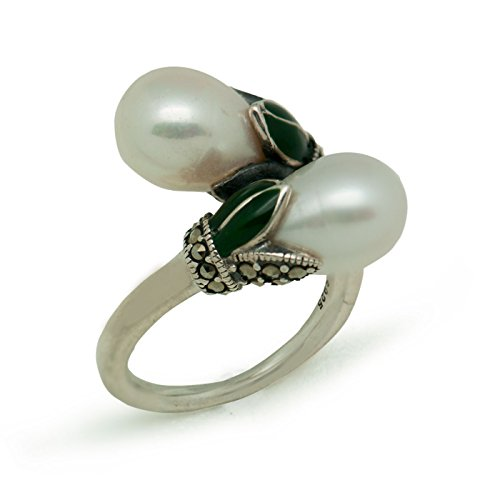2017Vintage Double Natur Weiß Pearl 925Sterling Silber Ring