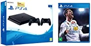 Sony PS4 1TB Slim Console with Additional Dualshock Controller (Black)&EA Sports FIFA 18 (