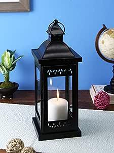 Hosley Decorative Iron Lantern with Pillar Candle (13.97 cm x 13.97 cm x 35.56 cm, Black)