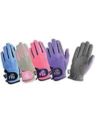 Hy5niños Everyday dos tonos guantes de equitación–Rosa/Gris, XL
