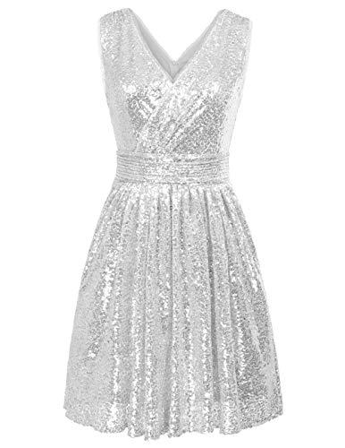 927b96847a1 Kate Kasin Damen Prom Kleid Abiballkleid Abschlussball Kleid Silber 36
