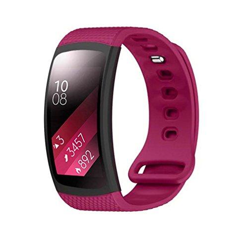 12shage Luxus-Silikon-Uhr-Ersatzband -Bügel für Samsung Gear Fit 2 SM-R360-Armband (Hot Pink)
