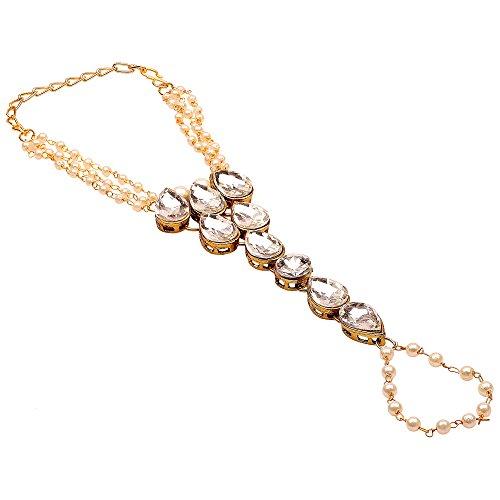 Sanjog Kundan Moti Ring Bracelet/Bangle/Hand Harness/Finger Ring Bracelet for Girls/Women