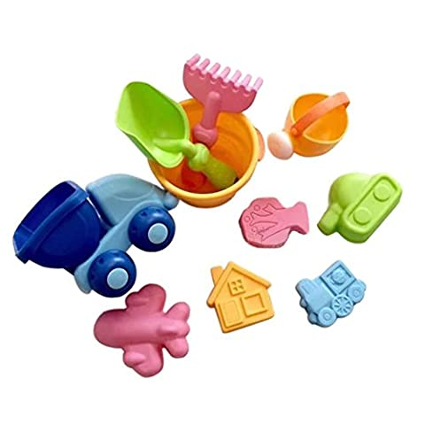 Remeehi 10Pcs Beach Sand Toy Set Bucket Shovels Watering Can Children Safety Soft Plastic Toys