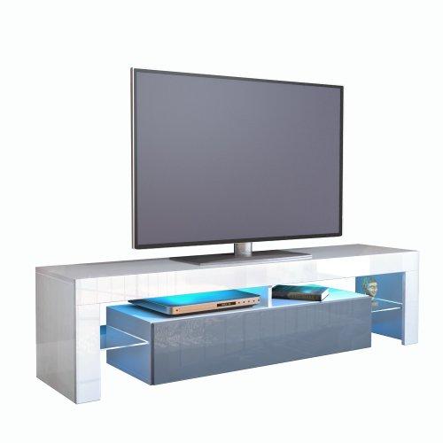 TV Schrank Lowboard Fernsehschrank Fernsehtisch Wohnzimmer Lima, Korpus in Weiß / Front in Grau Hochglanz