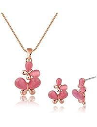 Adisaer Damas Aleación de Metal Conjunto Joyería Collar Pendientes Oro Rosa Mariposa Ópalo Joyería Rosa Para Mujeres Regalo