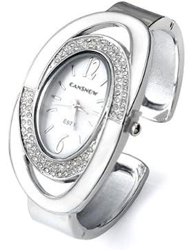 Better Dealz Damen Armbanduhr Oval Nebelfleck Quarzuhr Damenuhr Armband SPANGENUHR GESCHENK,Weiß