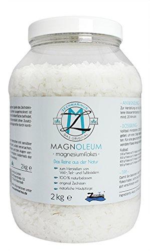 Magnesiumchlorid original Zechstein – Magnesiumflakes Badezusatz – Magnesium-Pulver aus dem Zechstein Urmeer als Badekristalle - Ideal geeignet als Badesalz für ein entspannendes Magnesium Bad – Magnoleum. (Feuchtigkeit Wasser-therapie)