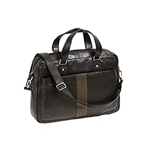 URBAN CONNECTION Herren Leder-Laptoptasche, Schwarz