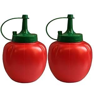 (Lot de 2)-Retro Bouteille de Ketchup souple Rouge-Distributeur de Sauce barbecue café