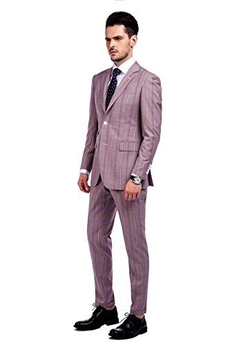 MA 100% laine costume moderne pour l'homme(3 couleurs) plaid rose